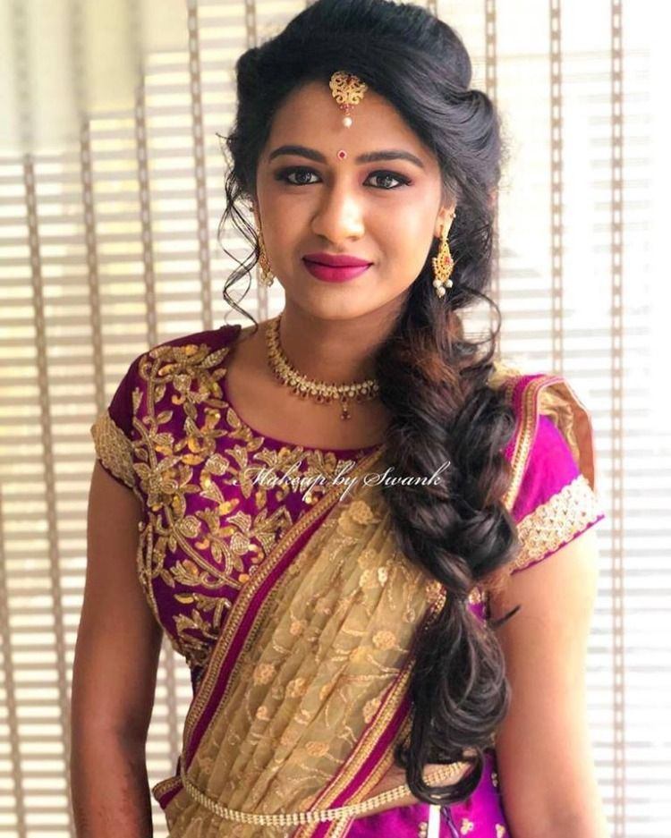 Beauty Personified Our Bride Neha Looks Ravishing For Her Engagement Ceremony Hair And Makeup By T Indian Bridal Hairstyles Engagement Hairstyles Hair Styles