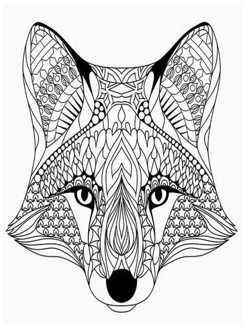 coloring pages adults wolves head | Fox coloring page ...