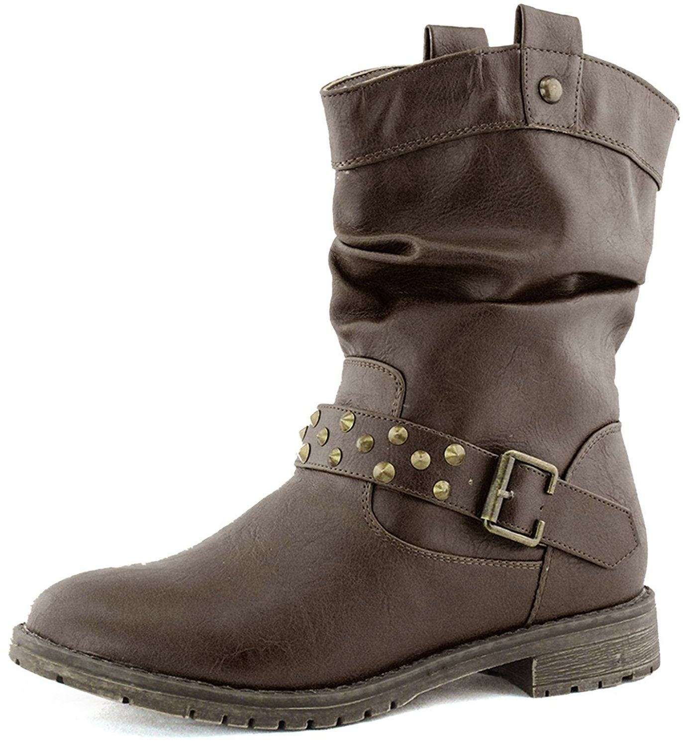 Women's Western Slouch Cowboy Ankle Strap Studded Booties Military Combat Boots Fashion Shoes