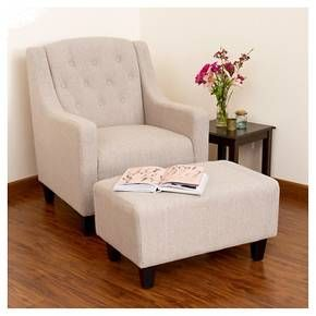 Elaine Tufted Fabric Chair and Ottoman - Light Beige - Christopher Knight Home : Target