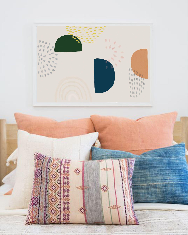 Modern Abstract Boho Living Room Decor Large Horizontal Wall Art