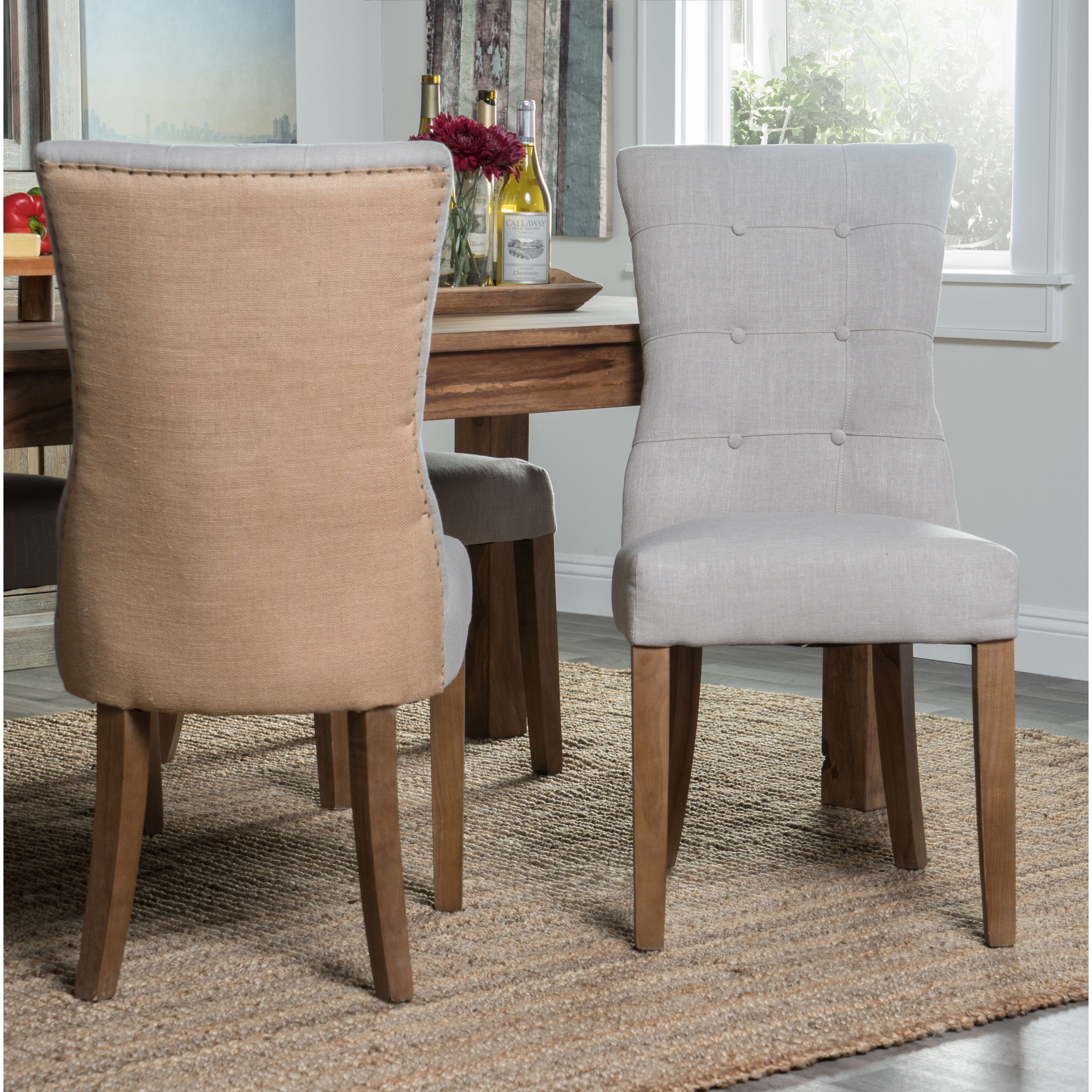 Kosas Home Hand Tufted Sienna Charcoal Linen Blend And Burlap Dining Chair  (Sienna Dining