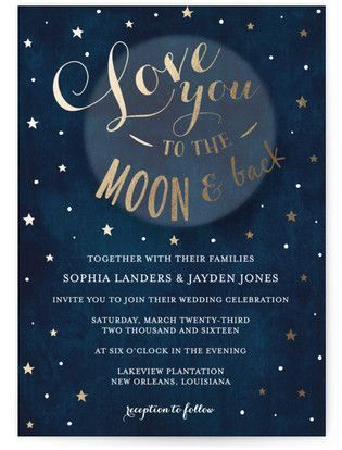 Love You To The Moon And Back   Starry Night Wedding Invitation   Unique  Rustic Wedding