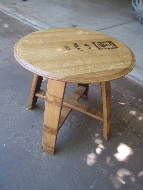 Side Table Made From Wine Barrel Staves And Top In 2019 Products