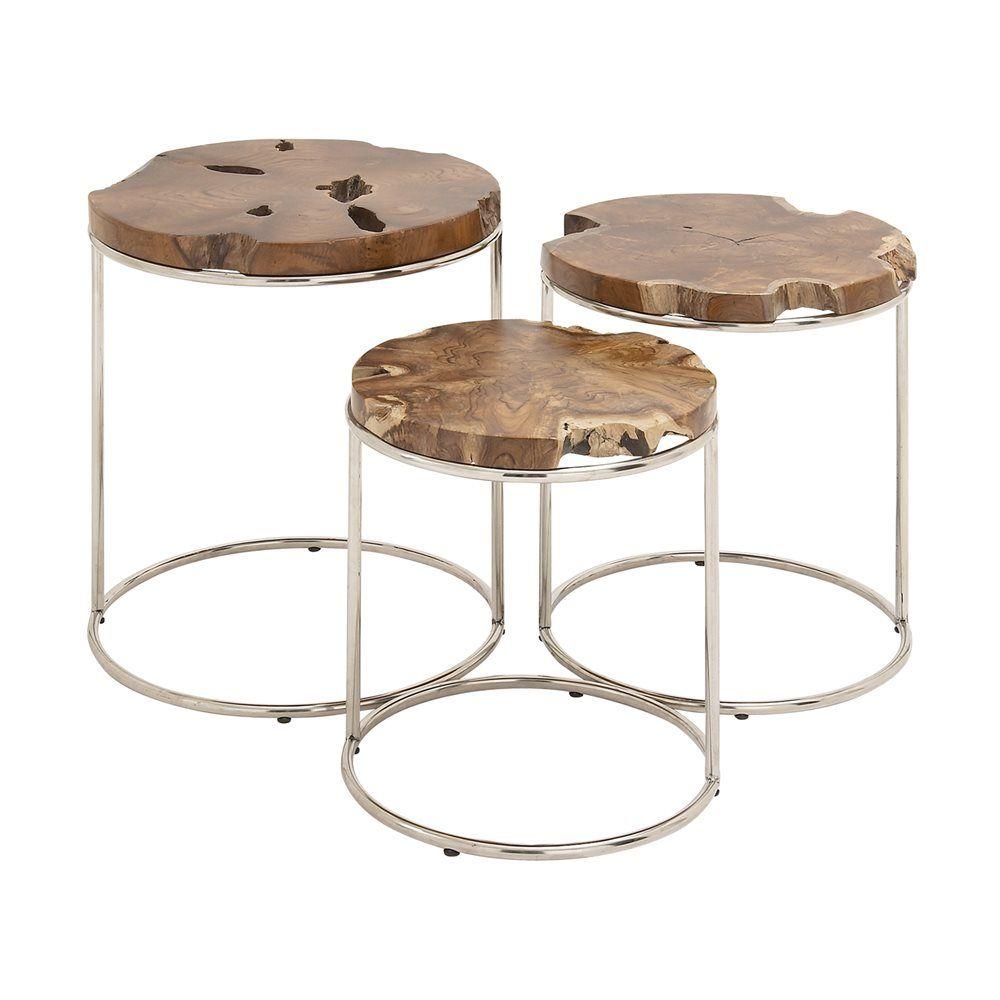 Shop Woodland Imports 59206 Classy Wood Teak Nesting Tables (set Of 3) At  The