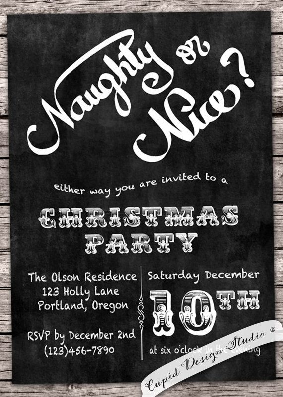 Chalkboard Christmas Invitation Holiday Party By Cupiddesigns