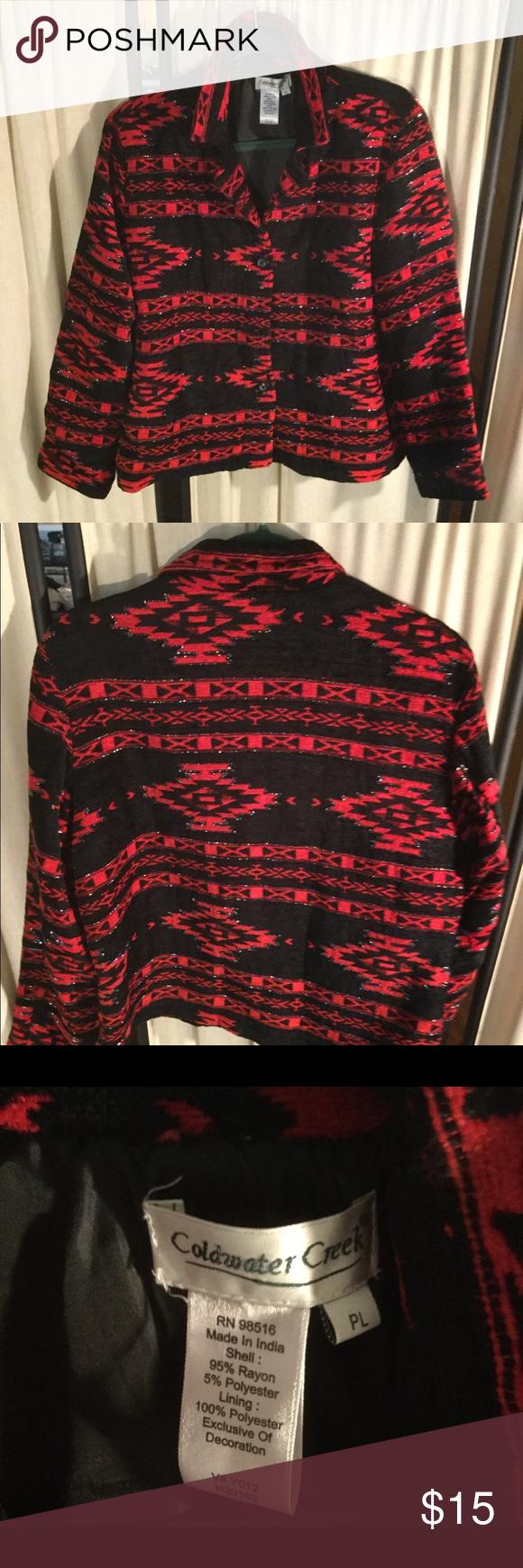 Vintage Coldwater Creek Red Tapestry Jacket