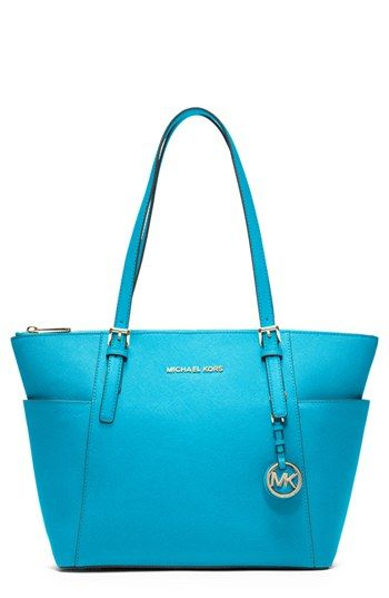e60483262b83 $248, Aquamarine Leather Tote Bag: MICHAEL Michael Kors Michl Michl Kors  Jet Set Leather Tote Medium Summer Blue. Sold by Nordstrom.