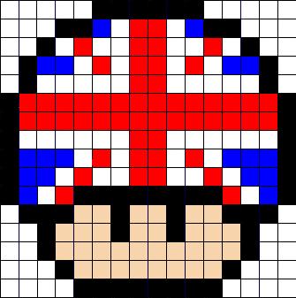 Uk Flag Mushroom Perler Bead Pattern Pixel Art Champignon