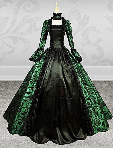 5d84609f3f3e Medievale Vittoriano Costume Per donna Vestiti Vestito da Serata Elegante  Stile Carnevale di Venezia Verde Vintage Cosplay Pizzo Manica
