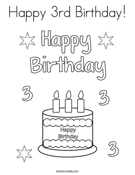 Happy 3rd Birthday Coloring Page Happy Birthday Coloring Pages Birthday Coloring Pages Birthday Printables