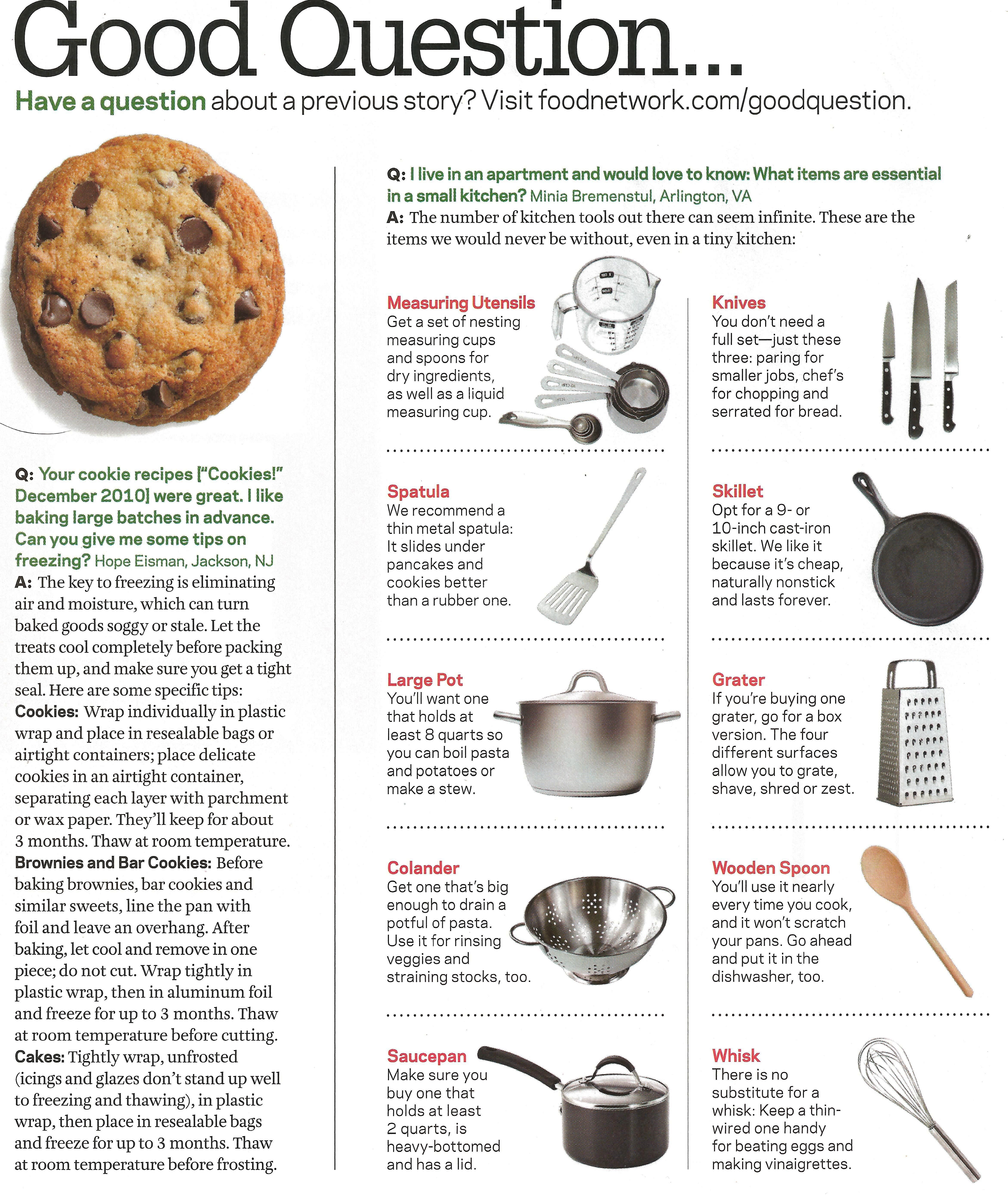 Freezing cookies, Essential items for a small kitchen   Food Network ...