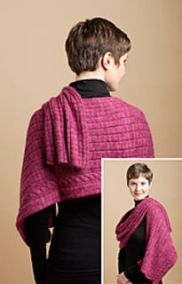 Featuring a graduated rib and one asymmetrically placed cable, the Cable and Rib Wrap is simple to knit but yields dramatic results.