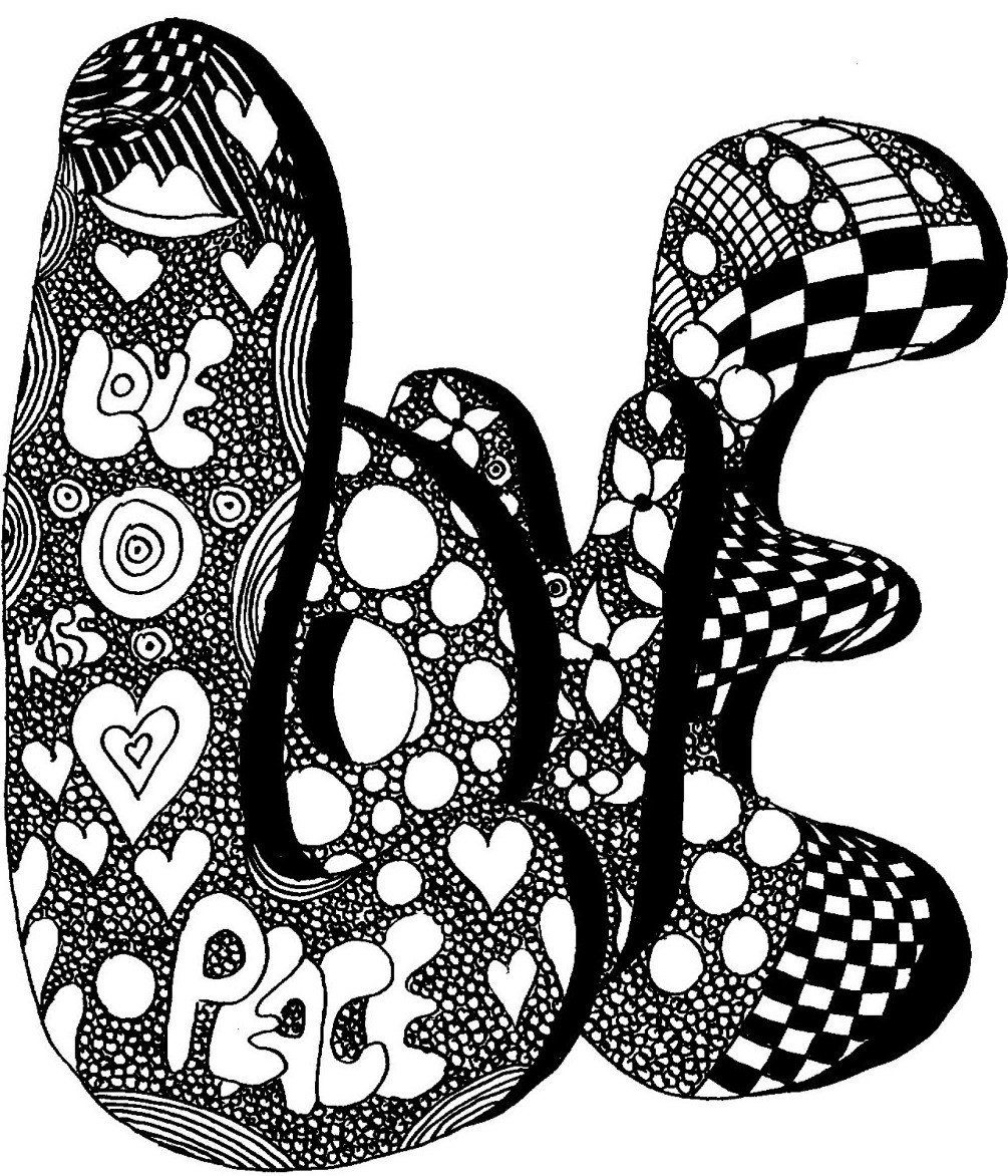 LOVE in Bubble Letters - Coloring Pages - Black and White Print ...