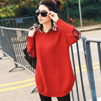 Autumn 2013 plus size clothing loose sweater shirt collar sweater outerwear medium-long faux two piece set