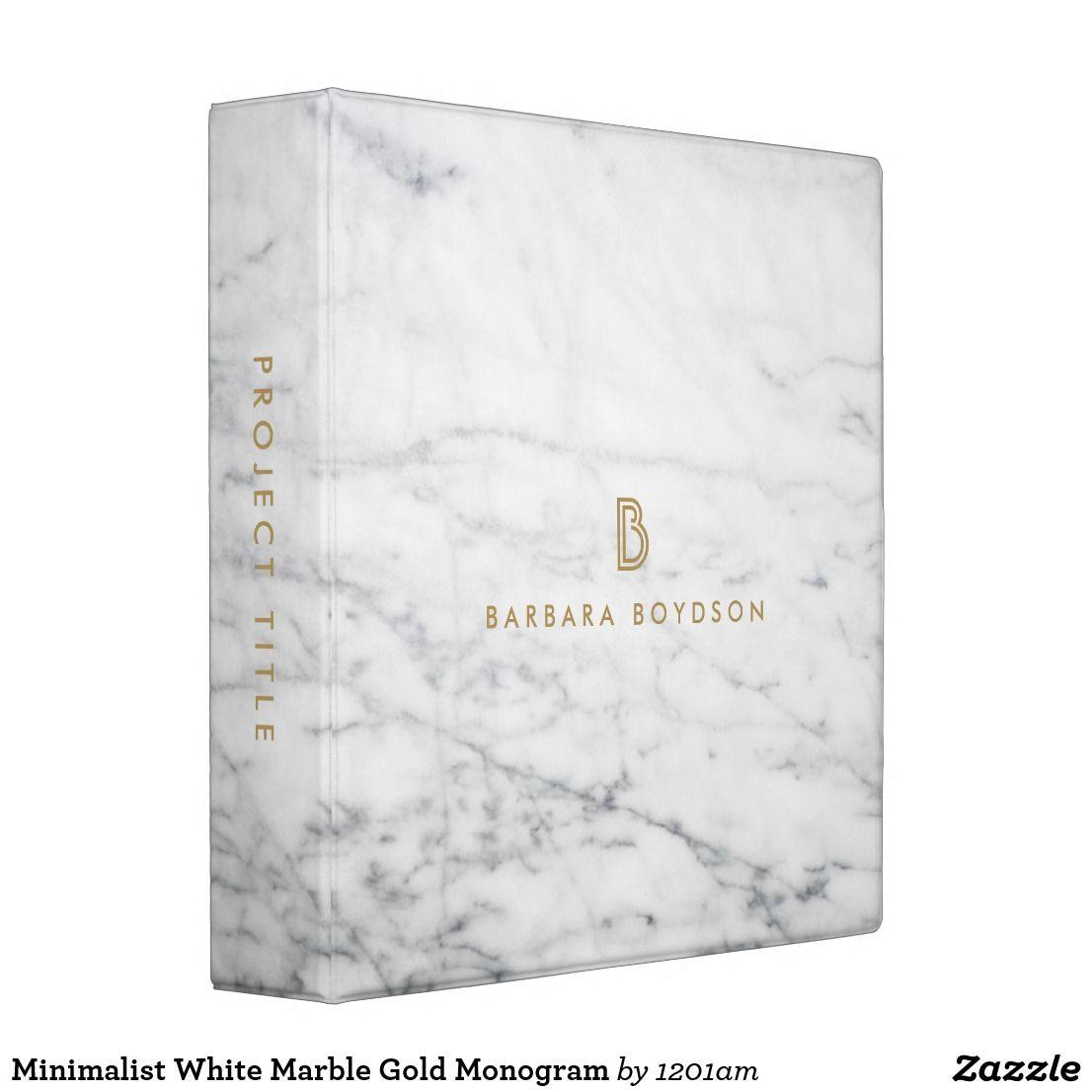 Minimalist White Marble Gold Monogram Binder
