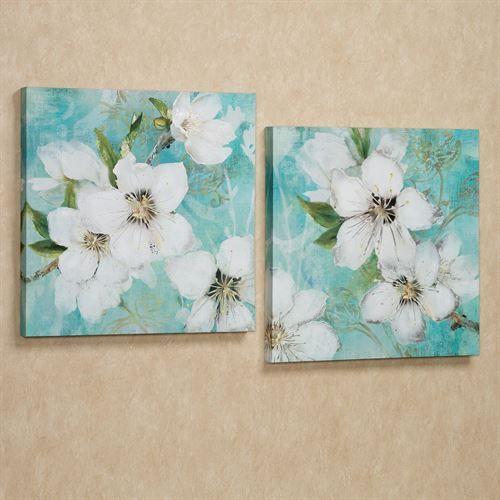 Flowers In Bloom Giclee Canvas Wall Art Set Canvas Wall Art Set Floral Wall Art Canvases Beach Canvas Wall Art