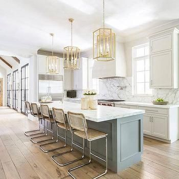 I like the floors! Metal doors Long Gray Kitchen Island with Gold