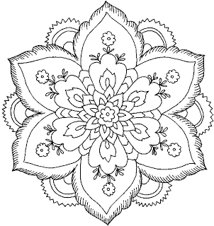 hard flower coloring pages Hard Flower Coloring Pages   Flower Coloring Page. Mandala  hard flower coloring pages