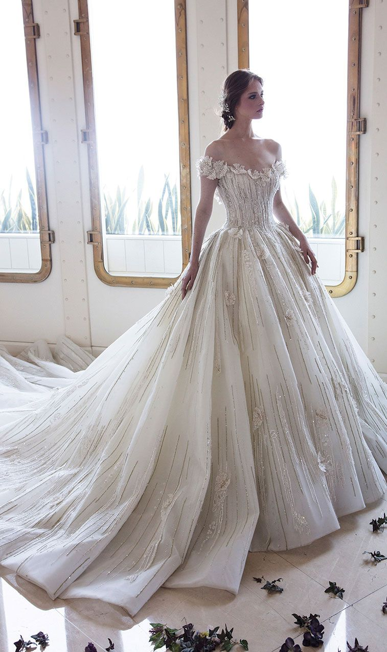 Ziad Nakad Wedding Dresses Inspiration - 2018 Bridal Collection , off the shoulder heavy embellishment wedding dress ,wedding dresses #weddinggown #weddingdress