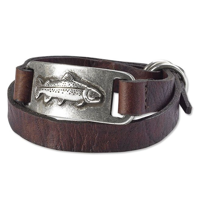 """Wrap it twice around your wrist and secure it with the D-ring buckle. That's all it takes to sport this men's Italian bull-leather bracelet. The curved zinc plaque offers a comfortable fit and features a raised trout design with an antiqued silver finish. In brown. 17""""L. Plaque ¾""""W x 1¾""""L. Imported."""