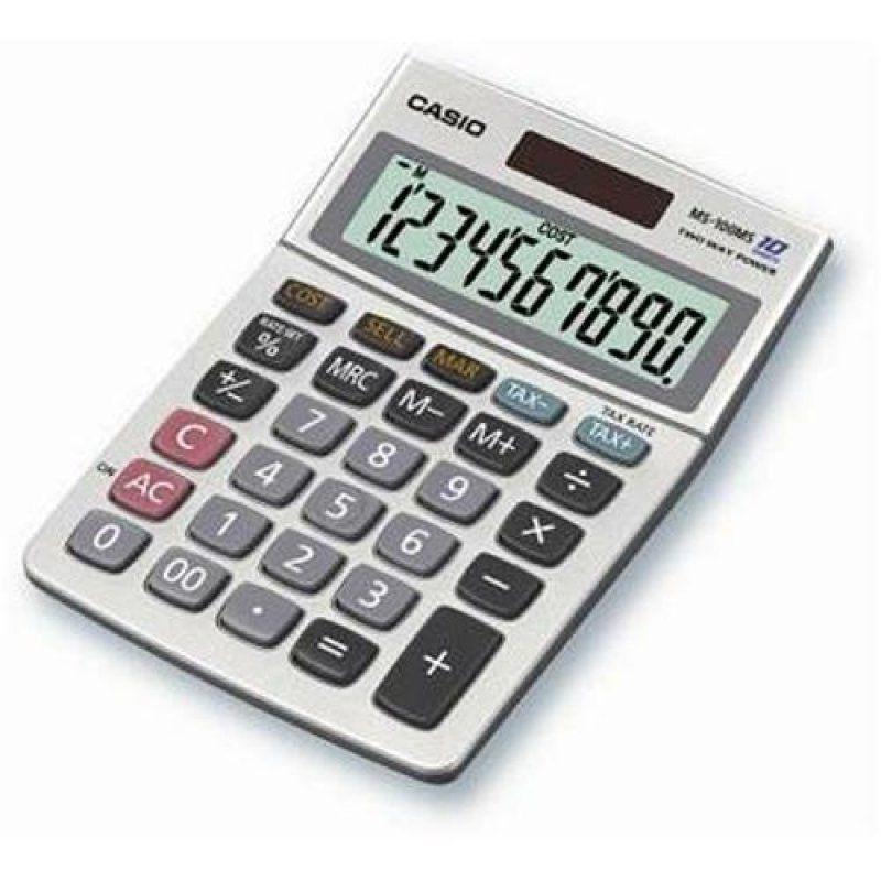 10 számjegyû, NAGY DÖNTÖTT KIJELZÕ, ÁFA számítás, bekerülési ár/ eladási ár / árrés számítás, elem+napelem, fémház,