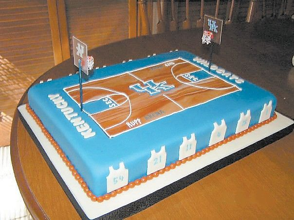 Fondant rolled to resemble the University of Kentucky's basketball court is the most popular of the cakes Bonnie Adams has decorated so far.