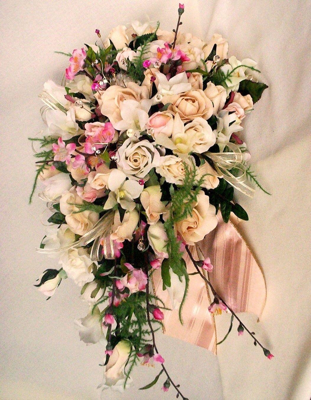 Wedding Bouquet Ivory Pink Cherry Blossoms Custom For Kim P 52700 Via Etsy