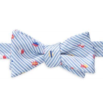 Seersucker Nautical Flags Bow Tie