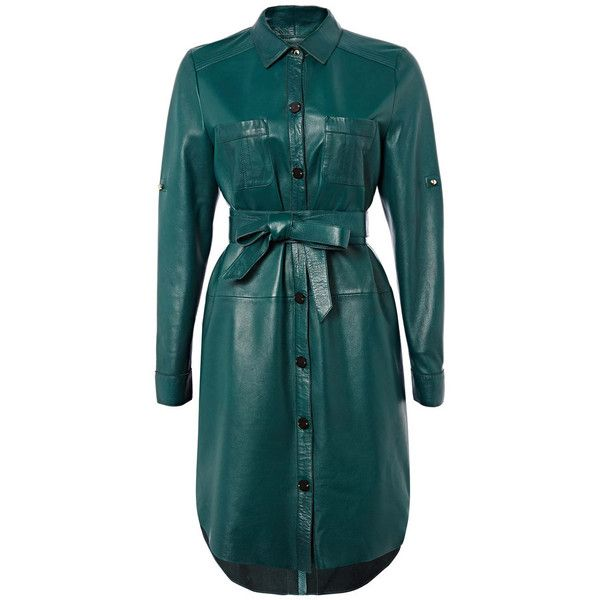 Richards Radcliffe Islington Leather Shirtdress (£750) ❤ liked on Polyvore featuring dresses, peacock, long sleeve dress, peacock dress, blue long sleeve dress, shirt dress and leather dress