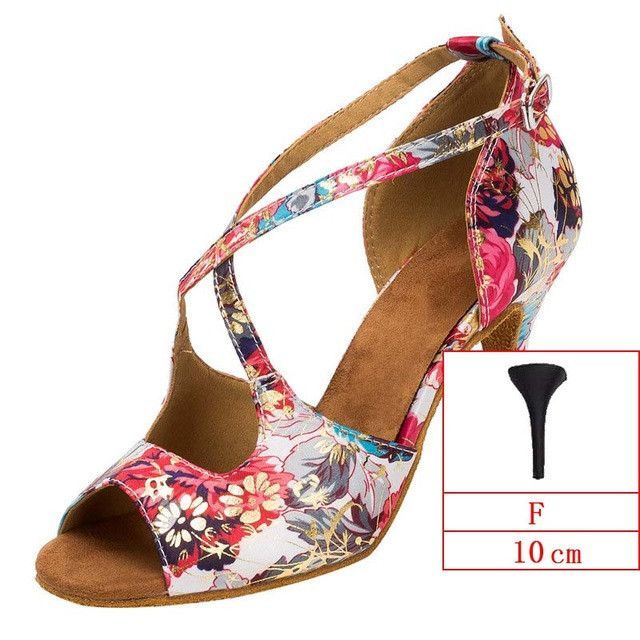2017 Spring Professional Latin Dance Shoes Ladies Salsa Ballroom Shoes Women Satin Soft Sole Buckle Red Flower WK013