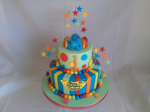 Colourful Hippo Stars 1st Birthday Cake Created For Cameron My