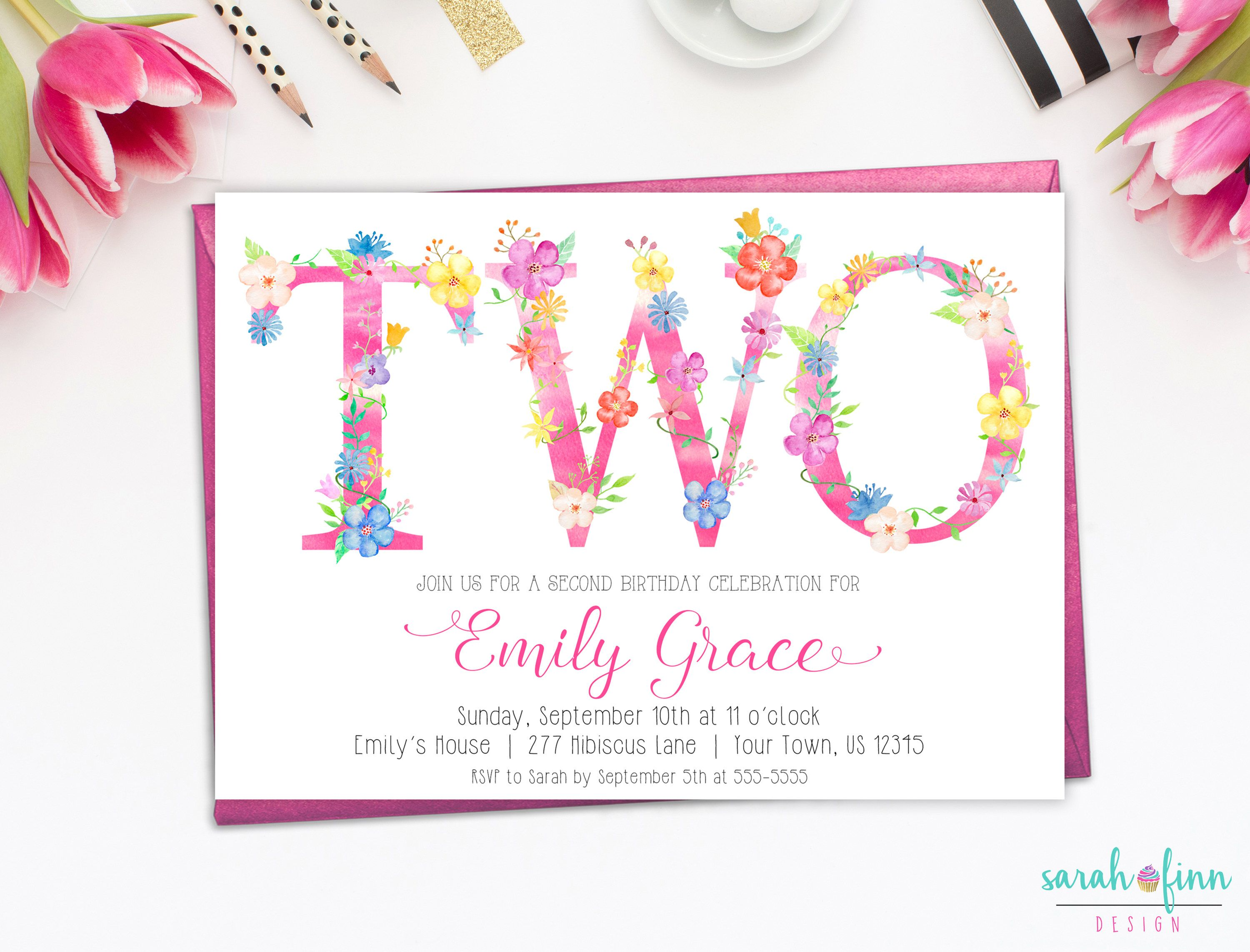 TWO 2nd Birthday Invitation, Tropical Party, Floral Letters Girl ...