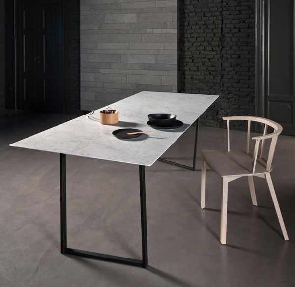 Dritto collection by Piero Lissoni. Ultra thin stone slabs blur the line between the material limitations of minimalism