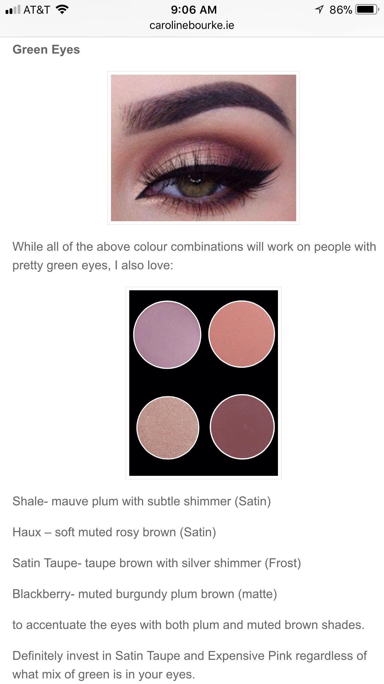 mac haux blackberry satin taupe on green eyes | rosy brown