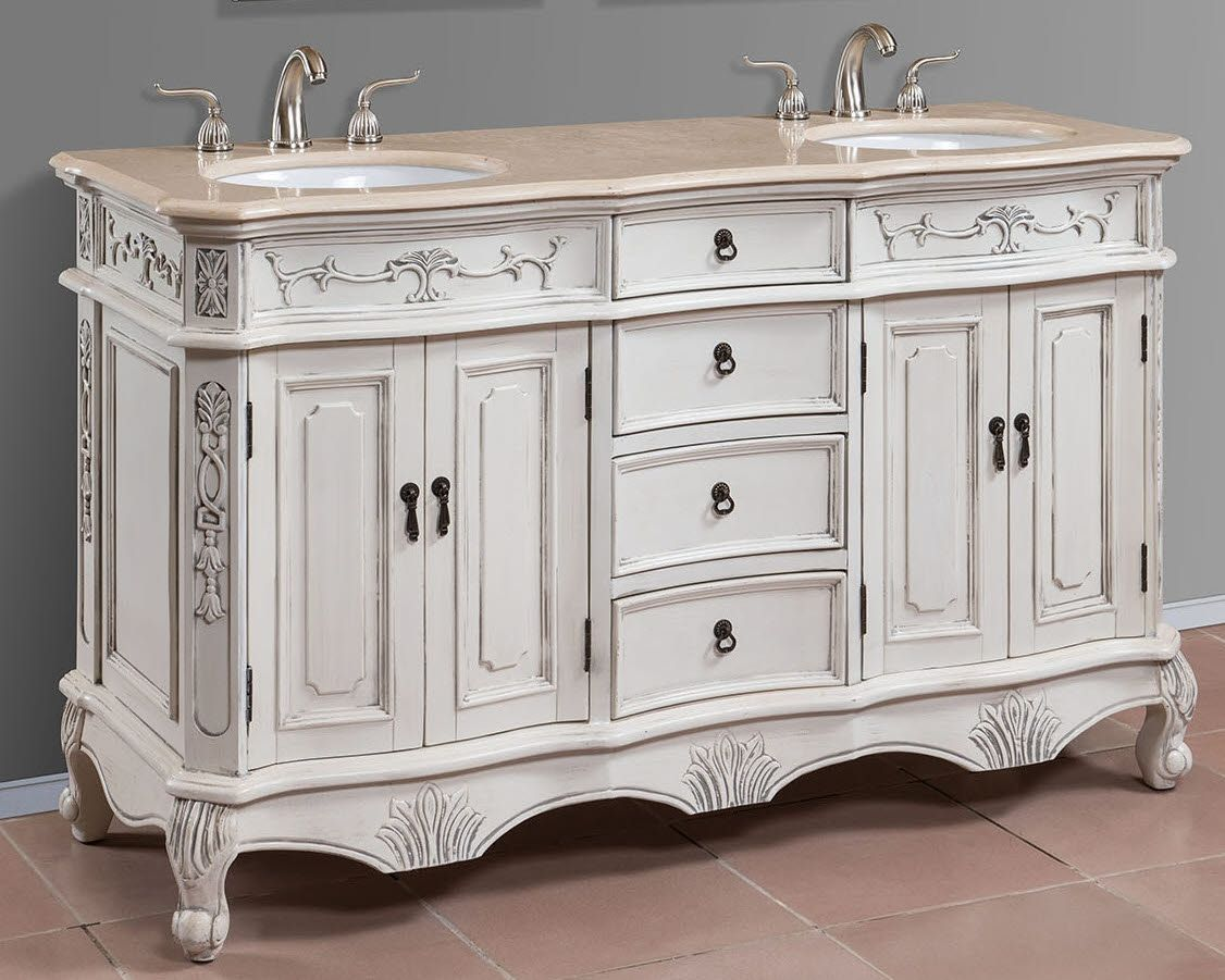 Item 1163 Double Sink Bath Vanities with Cream Marble Top