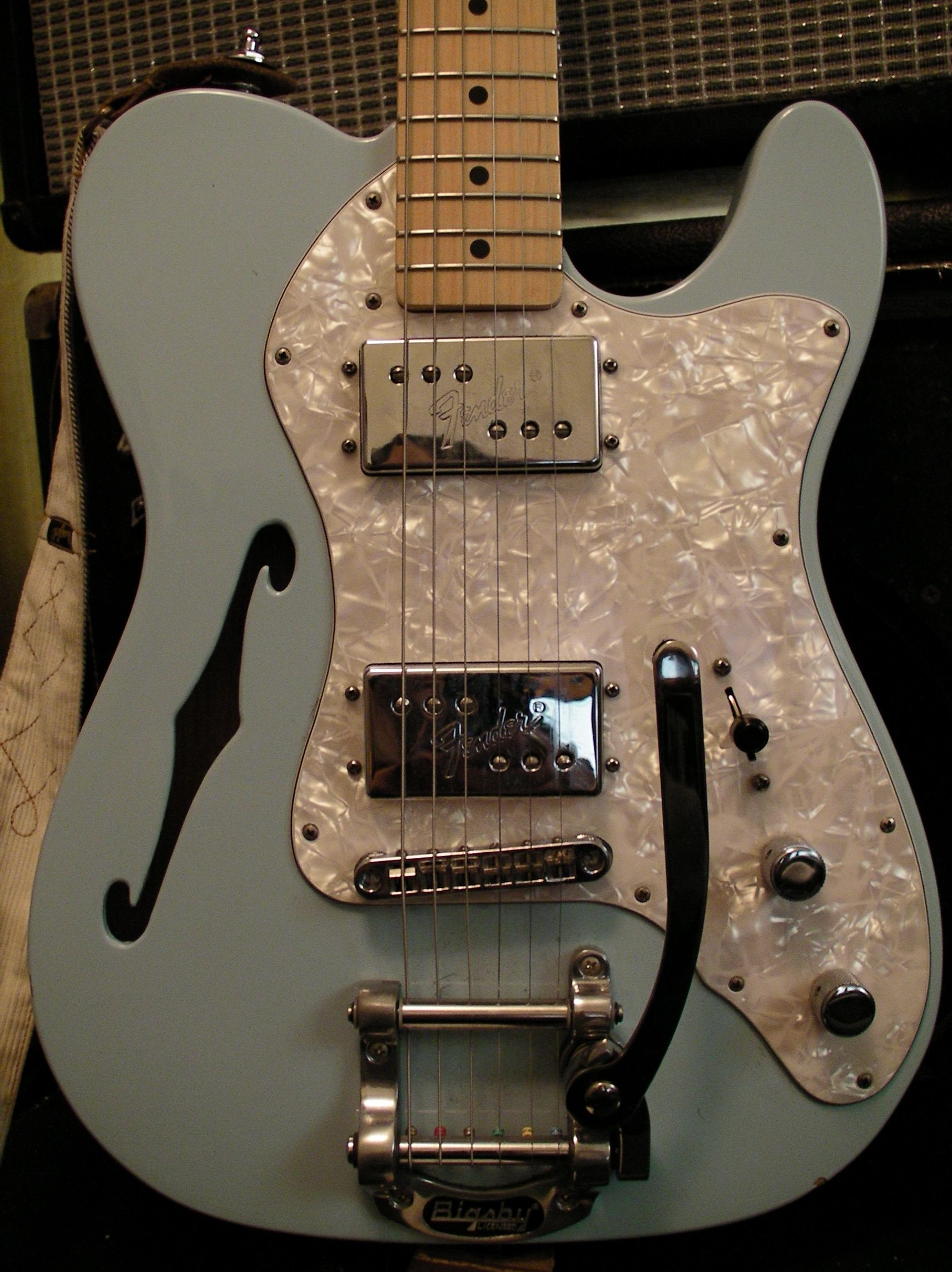 small resolution of  72 telecaster thinline bigsby gorgeous surf blue or seafoam green lighter than a traditional