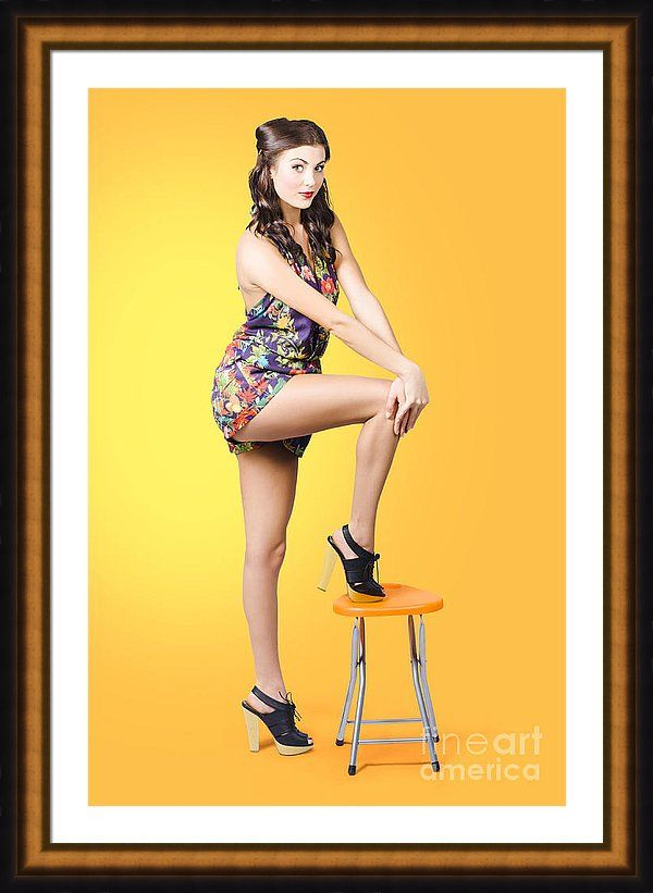 Orange Pinup Gal Framed Print featuring the photograph Retro Fashion ...