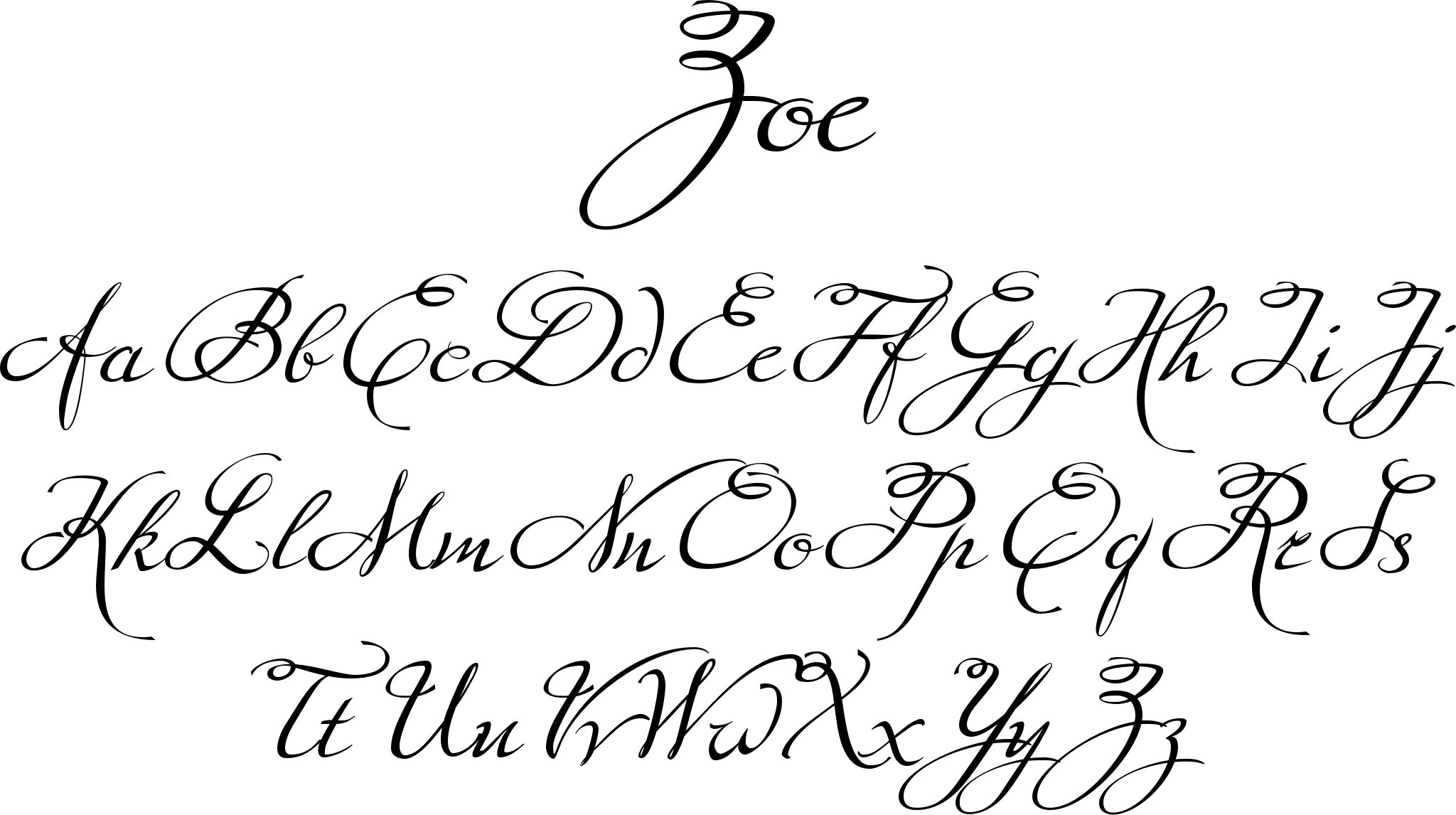 Zoe font a hand drawn script that has very even flow