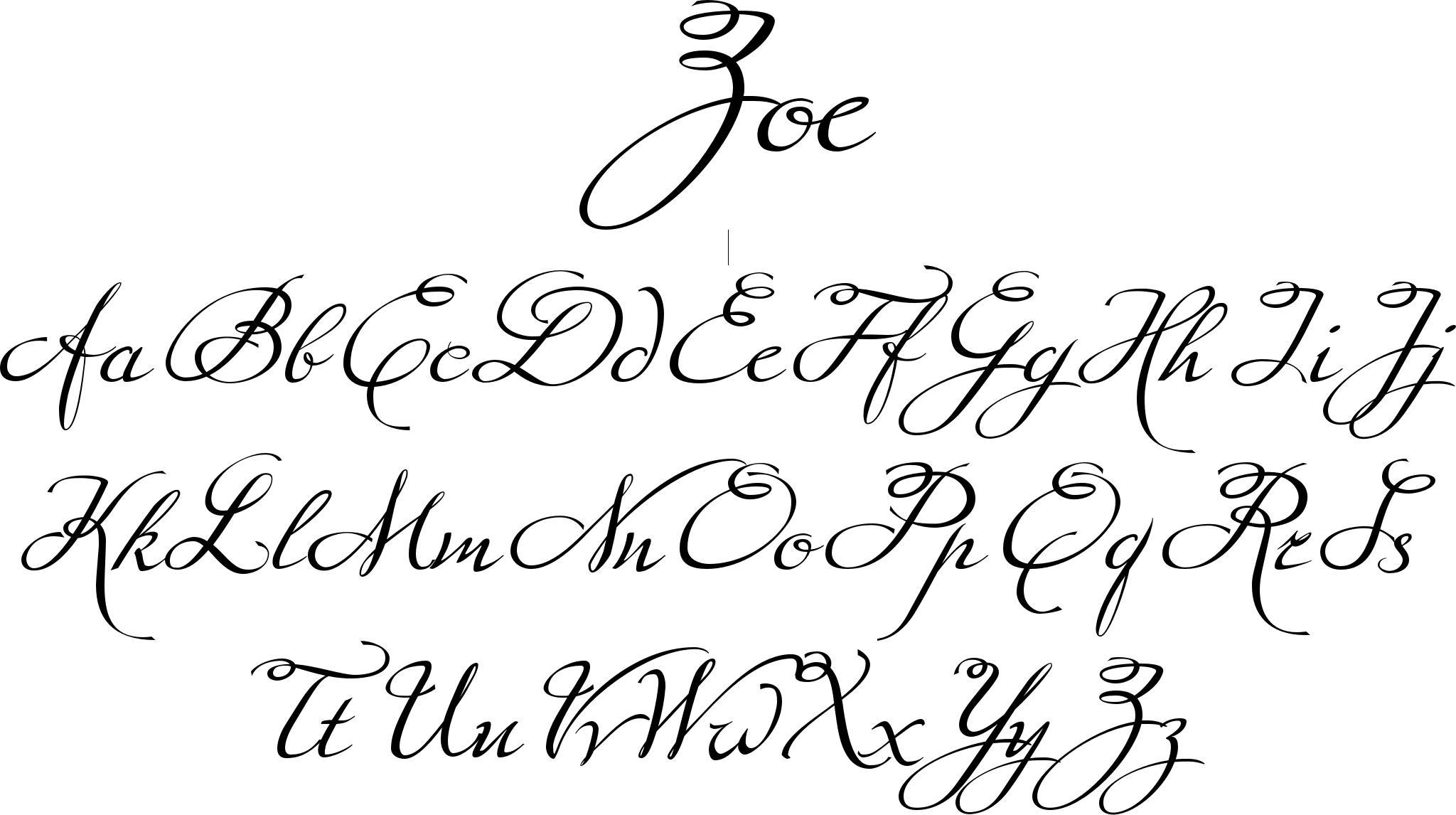 Zoe font a handdrawn script that has a very even flow