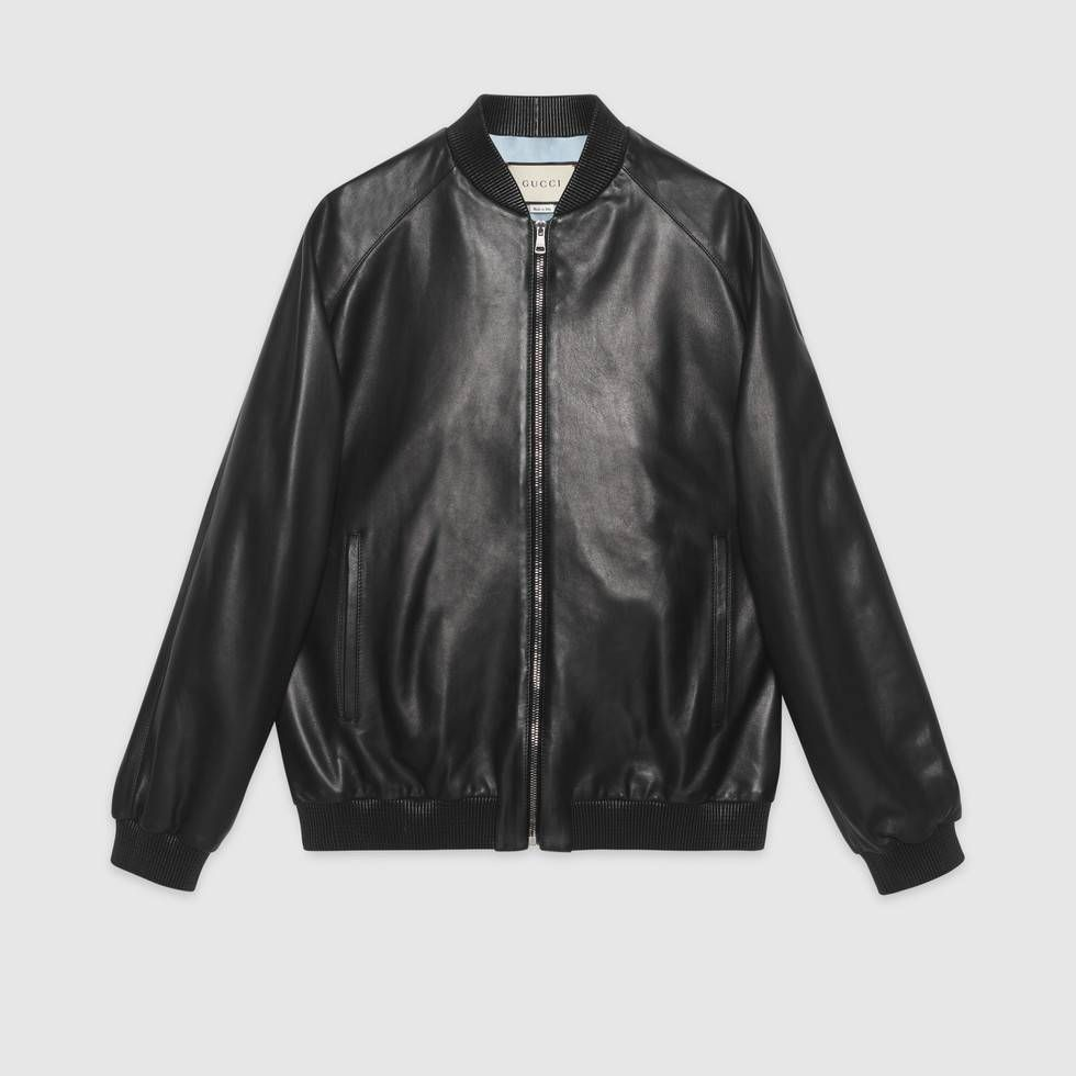 Shop The Leather Bomber With Paramount Logo By Gucci A Soft Leather Oversize Bomber Jacket With The Paramount Logo Embel Fashion Dresss Fashion Stylist Outfit [ 980 x 980 Pixel ]