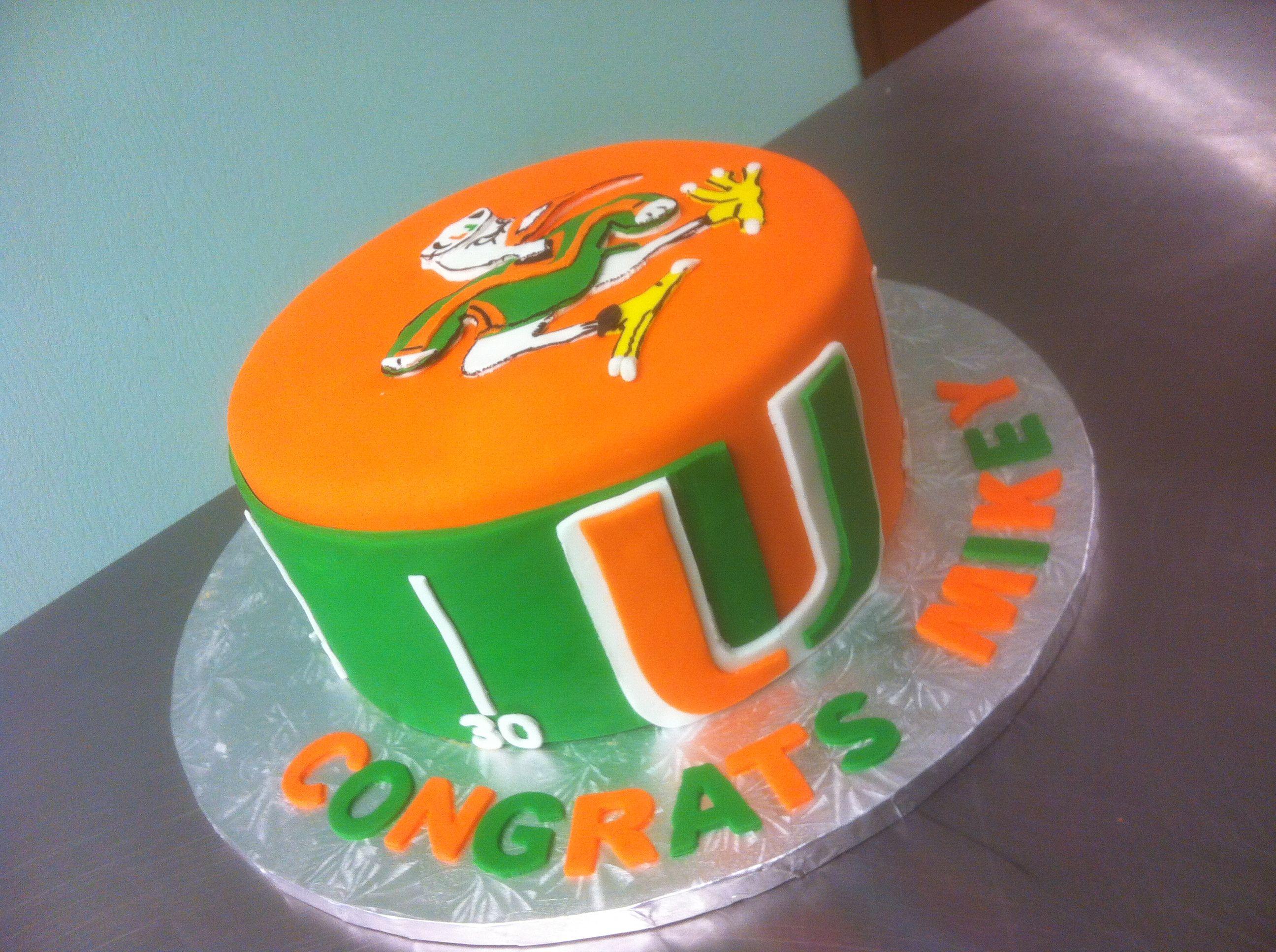 The U University Of Miami Graduation Cake Sweetnessbakeshop