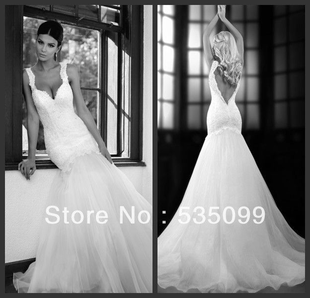 Trending  Spring New Sexy Spaghetti Backless Appliques Mermaid White Organza Slim Fit Wedding Dresses Bridal Dress