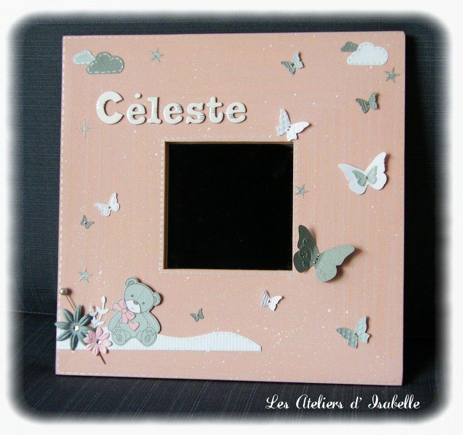 cadre miroir personnalis cadeau de naissance original rose poudr gris et blanc fleurs. Black Bedroom Furniture Sets. Home Design Ideas
