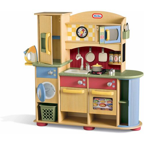 little tikes deluxe wooden kitchen laundry center play. Black Bedroom Furniture Sets. Home Design Ideas