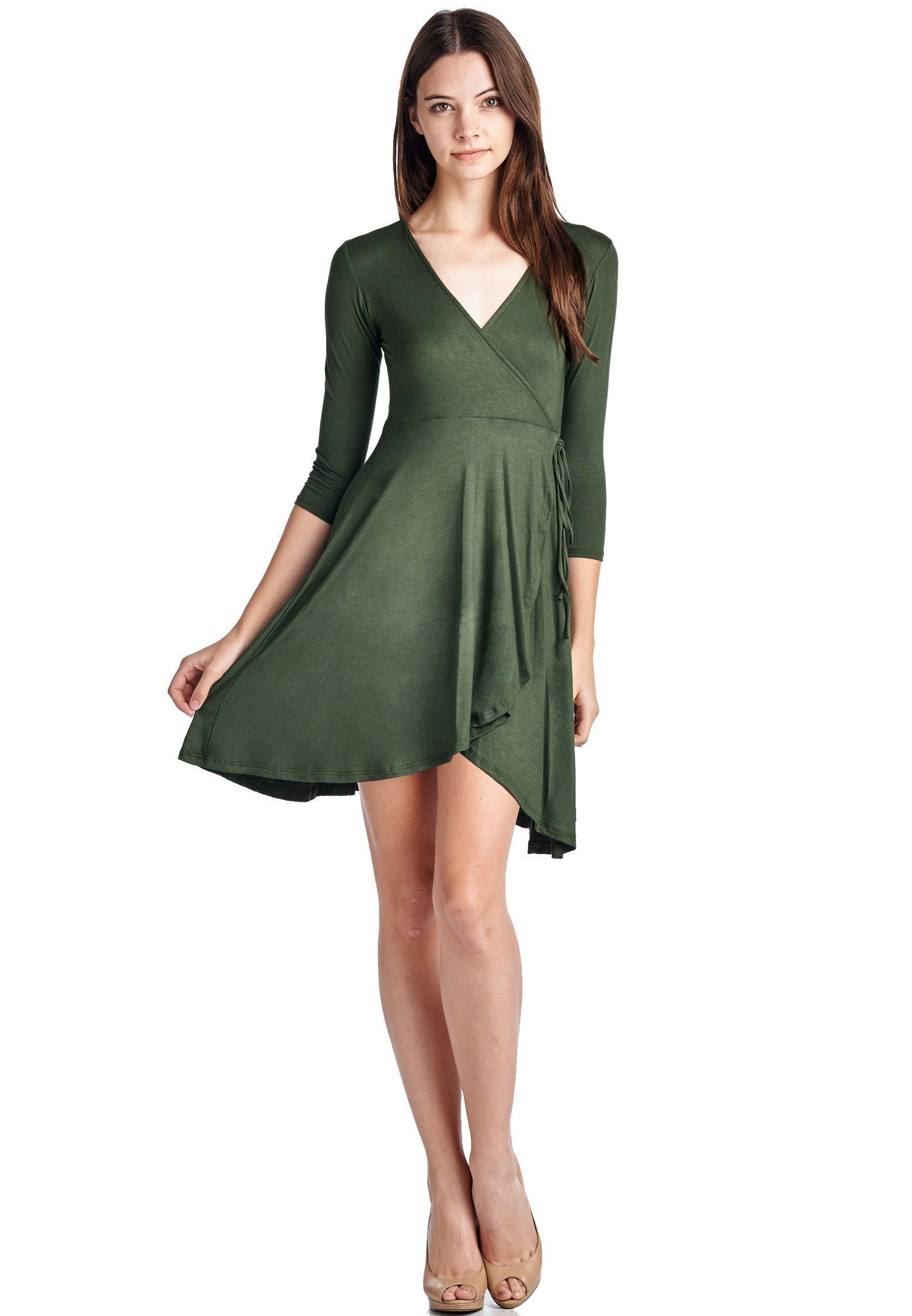 3/4 Sleeves V Neck Faux Wrap Dress