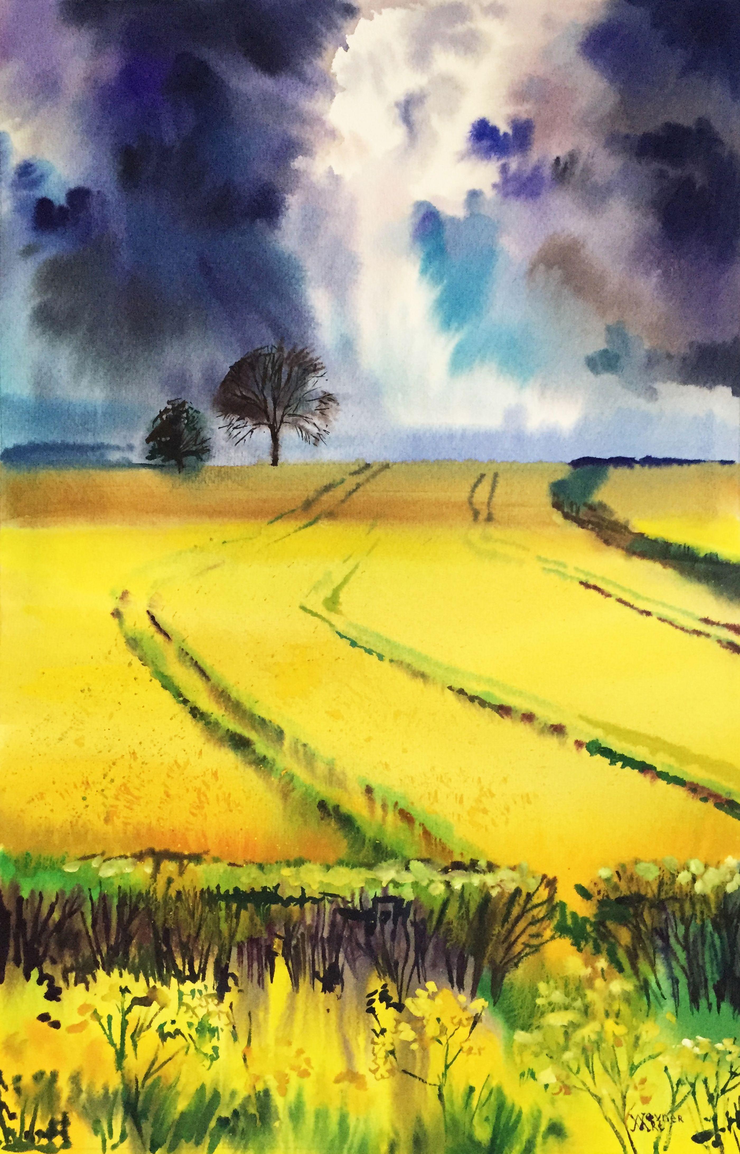 Original Watercolor Rapeseed Field Spring Landscape Abstract Watercolor Landscape Watercolor Landscape