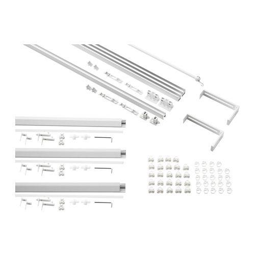 Ikea vidga white single and triple track set windows for Ikea tende a pannello
