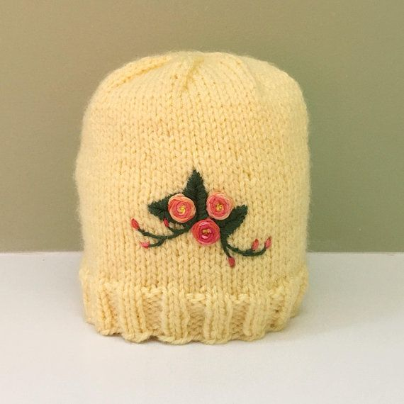 116663519e766 Newborn Embroidered Yellow Knit Hat, Embroidered Roses, Baby Flower ...