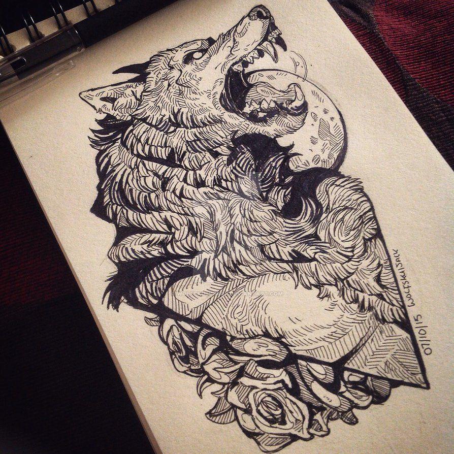 Inktober werewolf by WolfSkullJack on DeviantArt